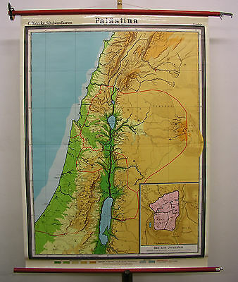 Schulwandkarte Wall Map Holy Vowed Country Palestine Israel Bible 116x158 ~ 1961