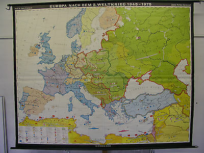 Schulwandkarte Wall Map Europa 1945-1975 Europe after WWII Germany 245x195 1975