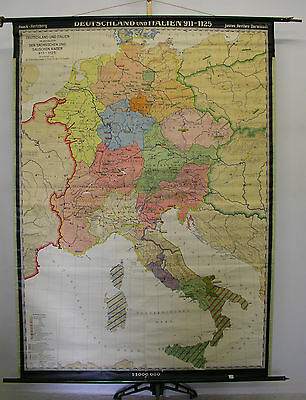 Schulwandkarte Wall Map School Map Germany and Italy 911-1125 155x214 1957