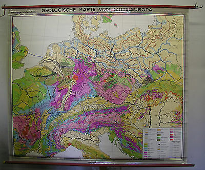 Schulwandkarte Beautiful Old Geological Central Europe 202x173cm 1975 Vintage