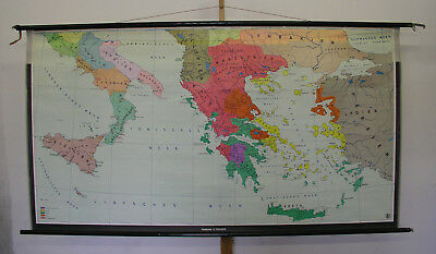 Beautiful Old Schulwandkarte Greece Gre Hellas 218x118cm ~ 1955 Vintage Chart