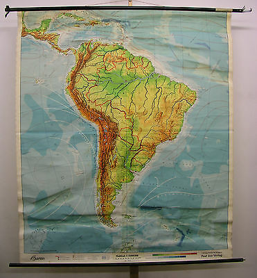 Schulwandkarte Wall Map School Map~1960 South America Patagonia Map 173x201cm