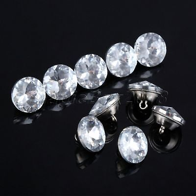 10Pcs Crystal Upholstery Buttons Metal Glass 22mm Headboard Sofa Furniture Decor