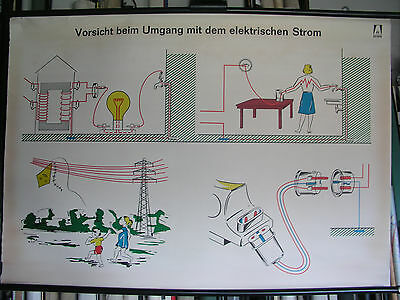 Carte Murale Tableau Vorsicht Courant 118x82 Danger Voltage Vintage Chart ~1960