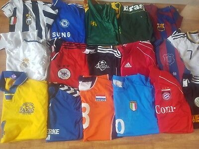 17 x Mixed Football Shirts Various Sizes Colours Job Lot Great Resell Wholesale