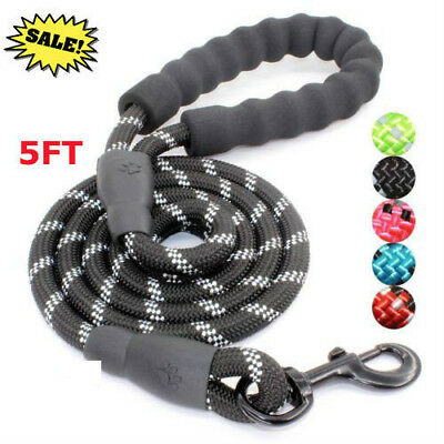 5FT Strong Dog Leash Climbing Rope Reflective Thread Night Safe Padded Handle