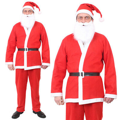 Adult Santa Suit Father Christmas Fancy Dress Costume Mens Xmas Outfit Santacon