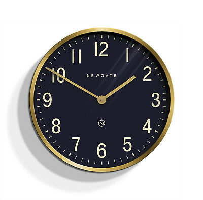 Large Gold / Black Round Metal Newgate Wall Clock Modern Easy to Read Dial 45cm