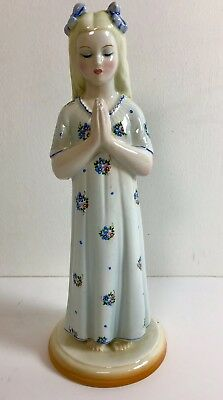 Vintage and Rare Ronzan Praying Girl Hand Painted Statue Made In Italy 1950's