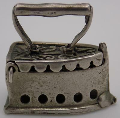 Vintage Solid Silver Italian Made Fabric Iron Box Miniature, Figurine, Stamped