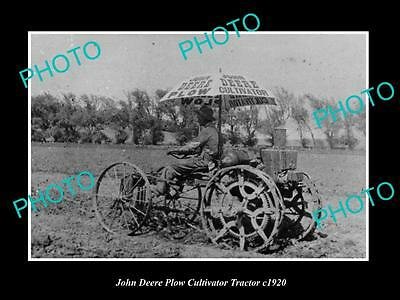 OLD LARGE HISTORIC PHOTO OF JOHN DEERE PLOW CULTIVATOR TRACTOR PHOTO c1920