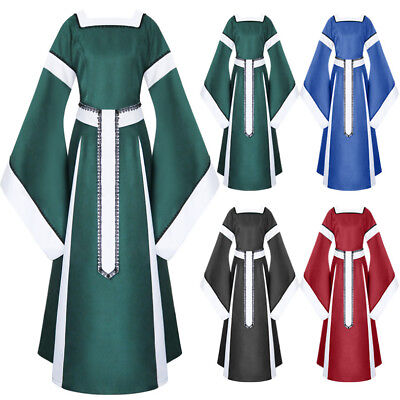 New Womens Medieval Dress Renaissance Costumes  Long Dress Cosplay Retro Gown