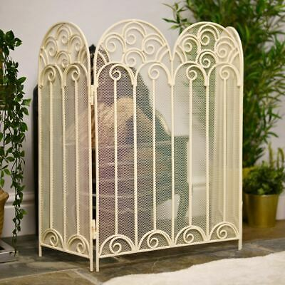 Ornate Victoriana French Cream Fire Screen Or Fireguard