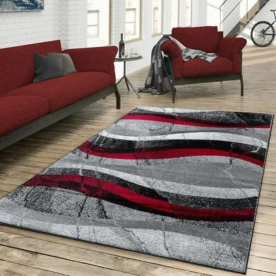 Tapis Salon Moderne Motif A Vagues Gris Rouge Anthracite Eur 9 90