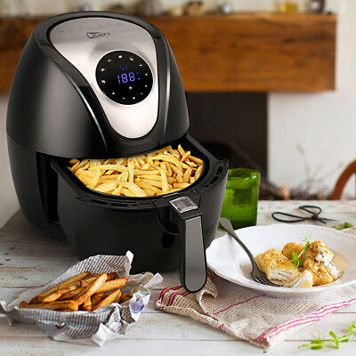 Air Fryer Power 4.5L Pan With Basket 1400W Digital Health Chip Oil Free Oven XL