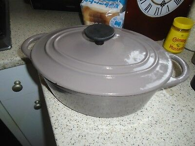 Vintage Gino D'acampo Grey/brown Enamelled Cast Iron Casserole Oven Dish
