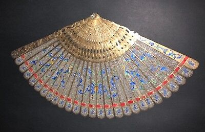 Museum Rare Typology Antique Chinese Gold Gilt Silver Filigree Enamel Brise Fan