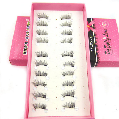 10 pairs Fake Natural Half Mini Corner Winged False eyelashes Cute eye lashes bo