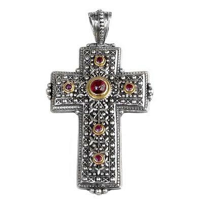 Gerochristo 5123 ~ Solid Gold & Silver with Gemstones Medieval Cross Pendant