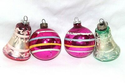Vintage Lot of 4 Frosted Glass Balls & Bells Christmas Ornaments ~ Germany