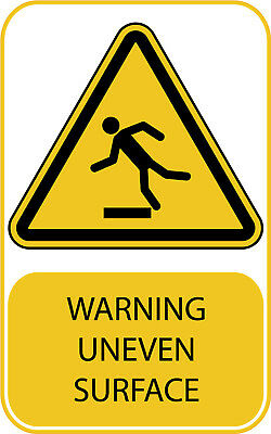 Uneven Surface Work Place Warning Sticker Sign Safety Yellow A7 A6 A5 A4 A3