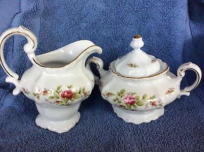 Johann Haviland Germany Moss Rose China Creamer & Sugar