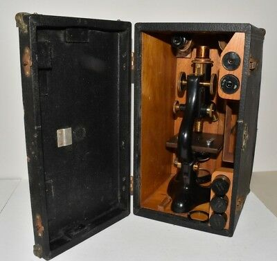 Antique Bausch And Lomb Microscope With Box Serial Number 194700