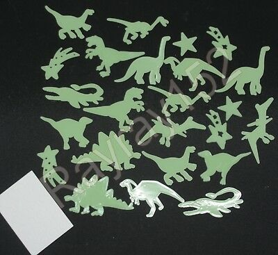 12, 24, 48 or 72 Glow in the dark Dinosaur plastic shapes with sticky pads H75