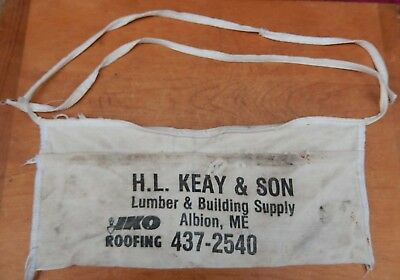 Vintage Canvas Nail Apron HL KEAY & SON LUMBER & BLD IKO Albion, Maine - Heavier