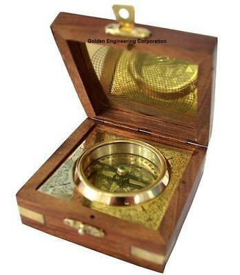 Nautia lGolden Brass Compass With Wooden Box Gift Set