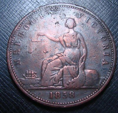 r699 - 1858 Melbourne Peace and Plenty Token (has been rubbed, Scarce Piece)