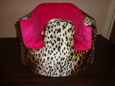 New Bumbo Floor Seat COVER- LEOPARD/CHEETAH W/HOT PINK SEAT - Safety Strap Ready