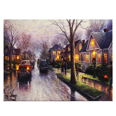 LED Light-up Snow Street Canvas Art Picture Print Home Wall Decor with Frame /