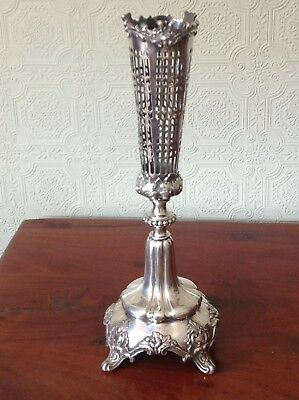 ELABORATE VICTORIAN SILVER-PLATED TABLE CENTREPIECE WITH PIERCED VASE  (746a)
