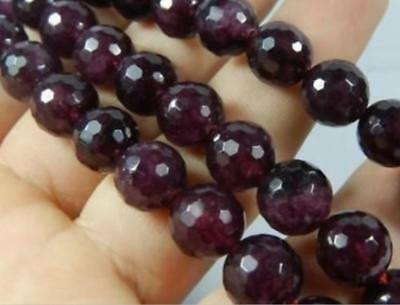 "1 Strand 8mm AAA Faceted Garnet Gem Round Loose Bead 15"" LL001"