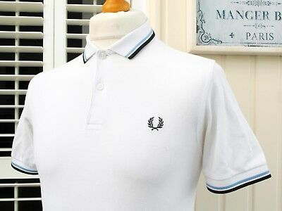 """Fred Perry White/Navy/Sky Twin Tipped Slim Polo - 36"""" - XS/S - Ska Mod Scooter"""