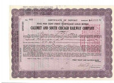 Calumet and South Chicago Railway Company  1927  2000$ Gold Bond