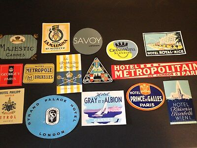 Mid Century International Hotel/Motel Luggage Tags Stickers-You Choose-1950's