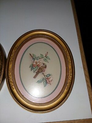 HOMCO Pair 3254 KAY LAMB SHANNON Oval BLUE BIRD Prints Oval Framed & Matted 1982