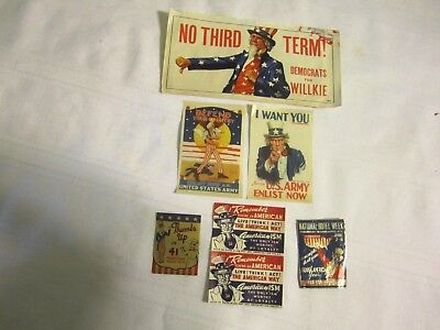 Six Vintage Labels From Wwii- U.s.army I Want You, Defend Your Country Plus More