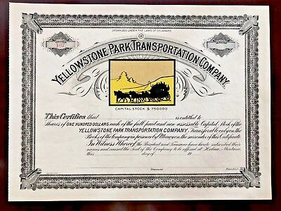 1900's Yellowstone Park Transportation Co. Stock Certificate