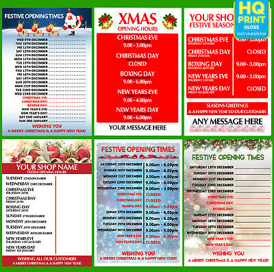 Christmas Opening Hours Time Posters Xmas 2018   A4 A3 A2 A1  