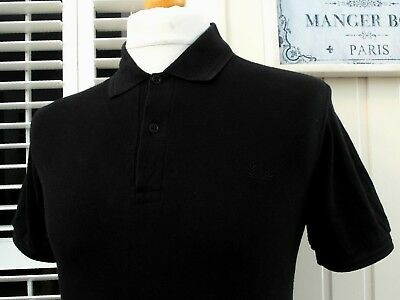 """Fred Perry Black Twin Tipped Pique Polo - S/M - 38"""" - Ska Mod Scooter Casuals"""