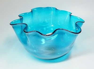 "Vtg Hand Blown Art Glass Bowl Vessel Ruffle Edge Teal Blue 12"" W Salad Punch"