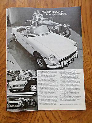 1972 MGB Ad Convertible  MG The Sports Car America Loved First