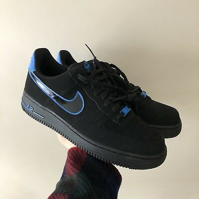 Brand New Nike Air Force 1 Low Black / Blue Size 10 Mens Sneakers Msrp $90 Rare