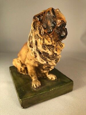 Fabulous Vintage Chalk Ware Pekingese Dog, Gorgeous Detail And Decoration!