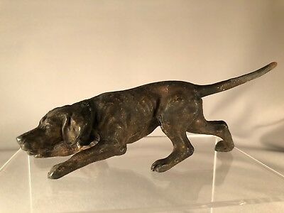Vintage Cast Metal Pointer Hunting Dog In Crouching Pose