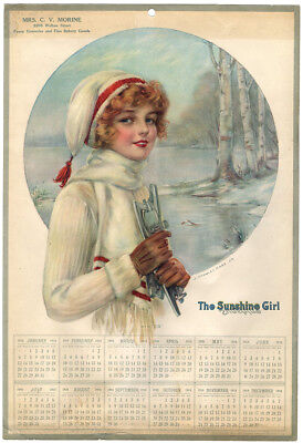 1918 Sunshine Biscuit Girl Advertising Pin-Up Calendar Winter Snow Bunny Skates