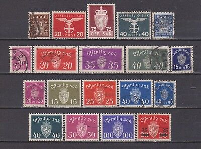 Norway / Norge - 1889-1955 - B. O. B. - 19 Different Stamps